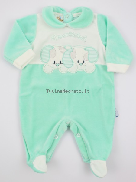 Picture baby chenille footie very tender puppies. Colour green, size 1-3 months Green Size 1-3 months