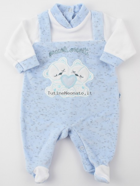 Picture baby chenille footie small bears. Colour light blue, size 1-3 months Light blue Size 1-3 months