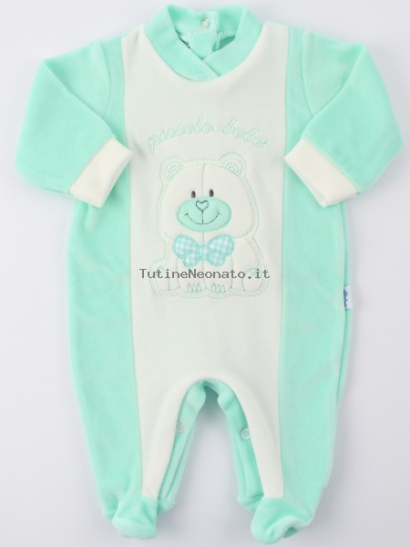 Picture baby footie chenille smallcolobeb. Colour green, size 1-3 months Green Size 1-3 months