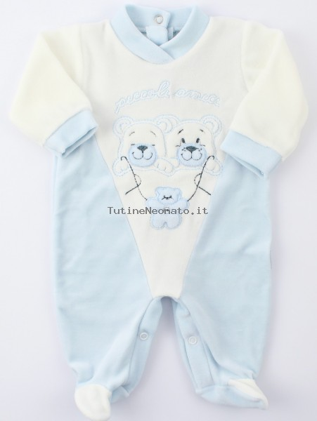 Image baby footie chenille little friends. Colour light blue, size 6-9 months Light blue Size 6-9 months