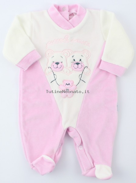 Image baby footie chenille little friends. Colour pink, size 3-6 months Pink Size 3-6 months