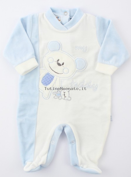 Baby image footie chenille bear teddy. Colour light blue, size 0-1 month Light blue Size 0-1 month