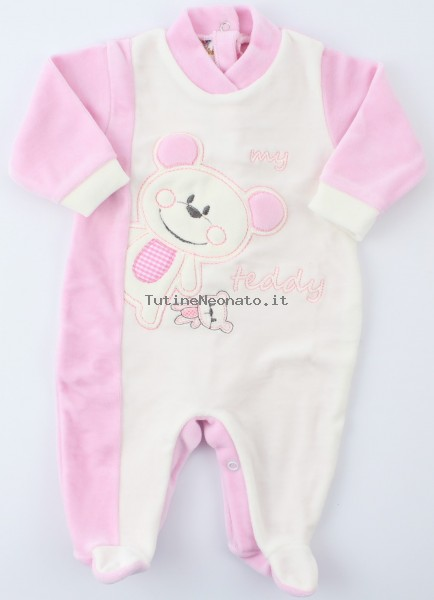 Baby image footie chenille bear teddy. Colour pink, size 3-6 months Pink Size 3-6 months