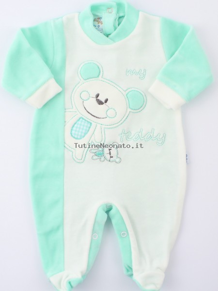 Baby image footie chenille bear teddy. Colour green, size 1-3 months Green Size 1-3 months