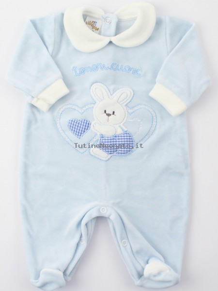Picture baby chenille footie tender hearts. Colour light blue, size 3-6 months Light blue Size 3-6 months