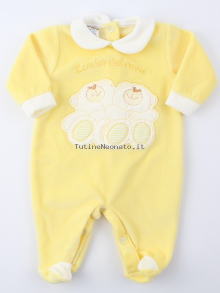 Image baby footie chenille heart friend. Colour yellow, size 0-1 month Yellow Size 0-1 month