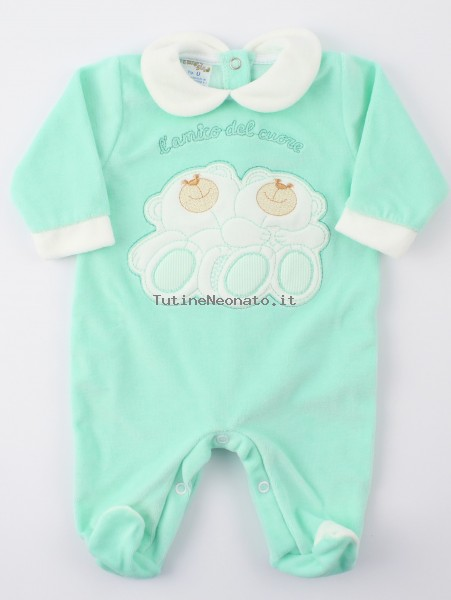 Image baby footie chenille heart friend. Colour green, size 6-9 months Green Size 6-9 months