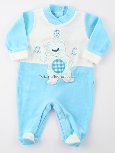 Image baby footie chenille baby bear a b c. Colour turquoise, size 6-9 months Turquoise Size 6-9 months