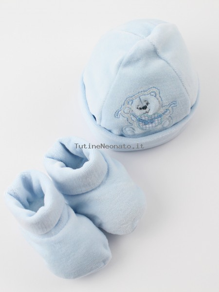 Hat and shoes image bear heart and bow. Colour light blue, one size Light blue One size
