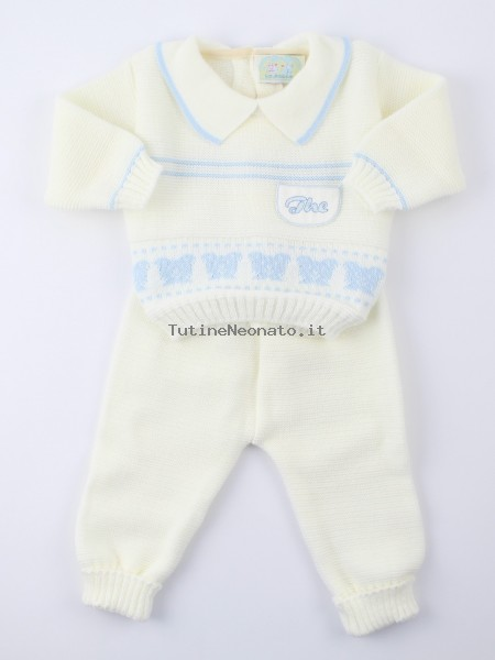 Picture baby outfit mixed wool. Colour light blue, size 1-3 months Light blue Size 1-3 months
