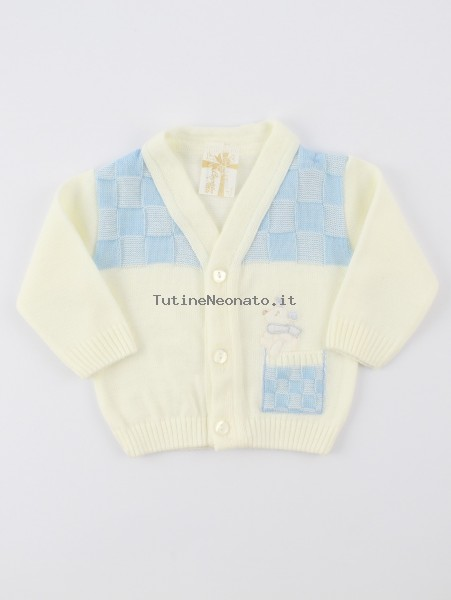 Picture accompanied jacket mixed wool topino. Colour creamy white, size 1-3 months Creamy white Size 1-3 months