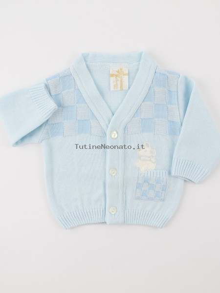 Picture accompanied jacket mixed wool topino. Colour light blue, size 0-1 month Light blue Size 0-1 month