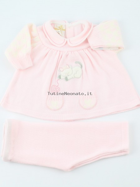 Image baby outfit mixed wool kitten and ballroom. Colour pink, size 0-1 month Pink Size 0-1 month