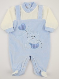 Picture baby chenille footie here I am. Colour light blue, size 1-3 months
