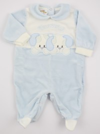 Picture baby chenille footie very tender puppies. Colour light blue, size 3-6 months