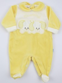 Picture baby chenille footie very tender puppies. Colour yellow, size 3-6 months