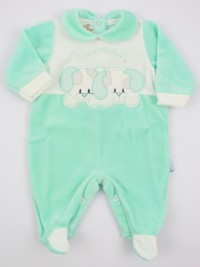 Picture baby chenille footie very tender puppies. Colour green, size 1-3 months