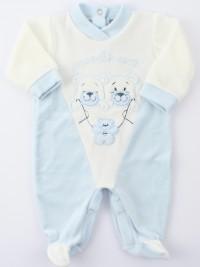 Image baby footie chenille little friends. Colour light blue, size 6-9 months
