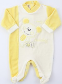 Baby image footie chenille bear teddy. Colour yellow, size 0-1 month