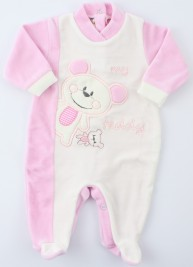 Baby image footie chenille bear teddy. Colour pink, size 3-6 months