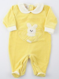 Picture baby chenille footie tender hearts. Colour yellow, size 1-3 months