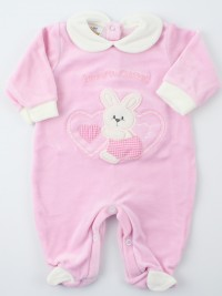 Picture baby chenille footie tender hearts. Colour pink, size 3-6 months