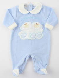 Image baby footie chenille heart friend. Colour light blue, size 3-6 months