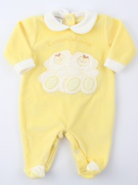 Image baby footie chenille heart friend. Colour yellow, size 0-1 month