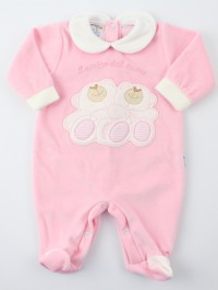 Image baby footie chenille heart friend. Colour pink, size 3-6 months