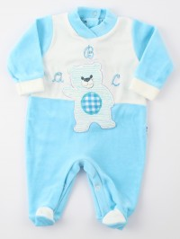 Image baby footie chenille baby bear a b c. Colour turquoise, size 3-6 months