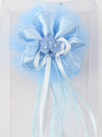 Birth rosette image on top of polka dots and rhinestones. Colour light blue, one size