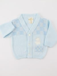 Picture accompanied jacket mixed wool topino. Colour light blue, size 1-3 months