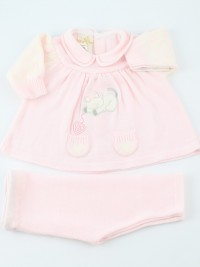 Image baby outfit mixed wool kitten and ballroom. Colour pink, size 0-1 month
