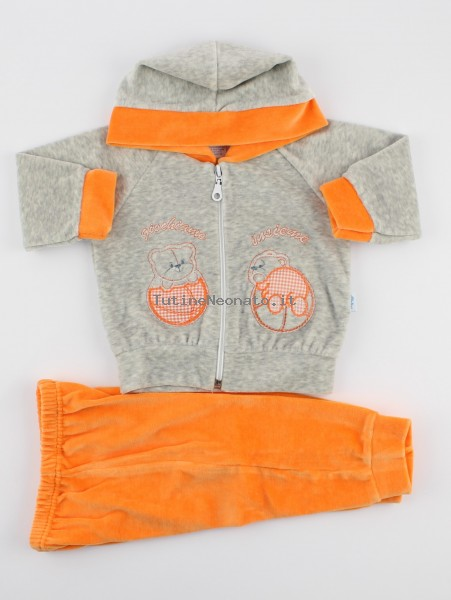 Picture hood suit let's play together. Colour orange, size 6-9 months Orange Size 6-9 months