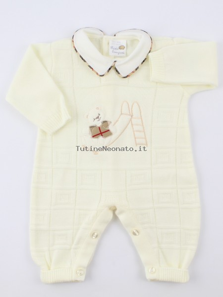 Image baby footie mixed wool baby bear and slide. Colour creamy white, size 0-1 month Creamy white Size 0-1 month