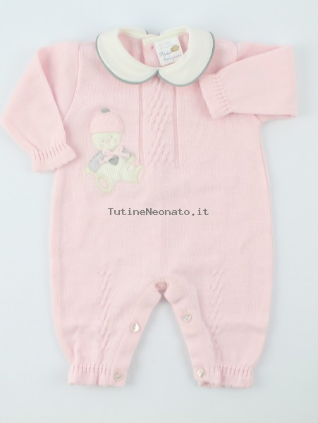 Picture baby footie mixed wool baby bear skies. Colour pink, size 0-1 month Pink Size 0-1 month
