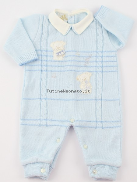 Picture baby footie mixed wool puppies musicians. Colour light blue, size 1-3 months Light blue Size 1-3 months
