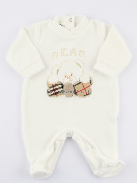 Image baby footie chenille Scottish bear. Colour creamy white, size 1-3 months Creamy white Size 1-3 months