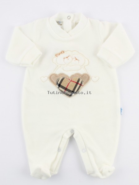 Picture baby footie chenille tender hug. Colour creamy white, size 0-1 month Creamy white Size 0-1 month