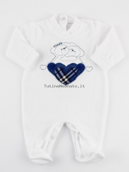Picture baby footie chenille tender hug. Colour blue, size 1-3 months