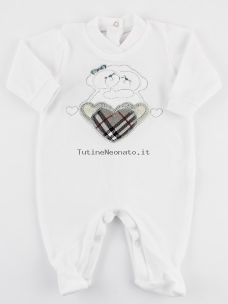 Picture baby footie chenille tender hug. Colour grey, size 1-3 months Grey Size 1-3 months