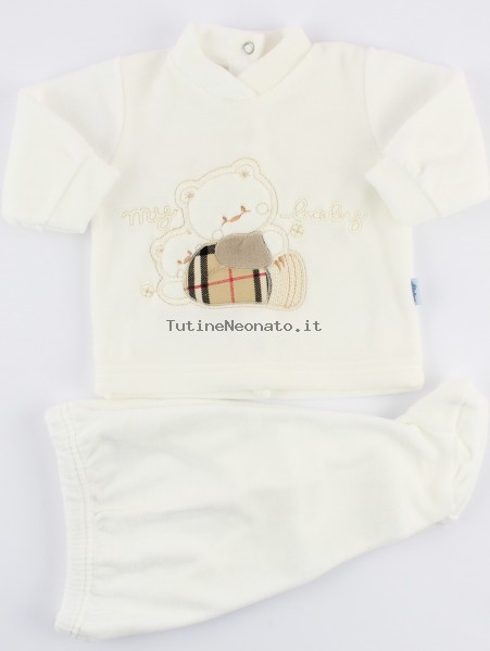 Picture baby footie outfit in chenille my baby. Colour creamy white, size 1-3 months Creamy white Size 1-3 months