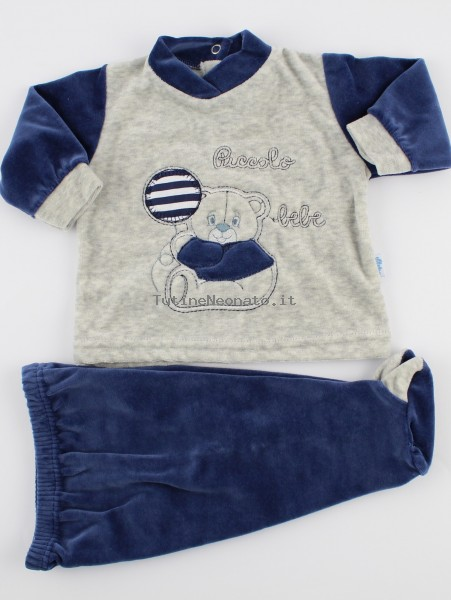 Baby footie outfit clinic chenille small baby.. Colour blue, size 1-3 months