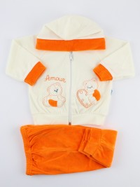 Baby footie outfit hooded chenille bears amour.. Colour orange, size 6-9 months