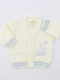 Picture accompanied by a jacket mixed with locomotive wool. Colour creamy white, size 1-3 months