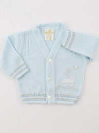 Picture accompanied by a jacket mixed with locomotive wool. Colour light blue, size 0-1 month