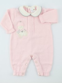 Picture baby footie mixed wool baby bear skies. Colour pink, size 0-1 month