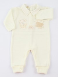 Image baby footie mixed wool baby bear and dog. Colour creamy white, size 0-1 month