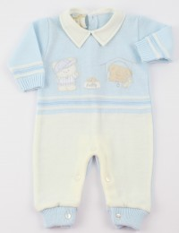 Image baby footie mixed wool baby bear and dog. Colour light blue, size 0-1 month