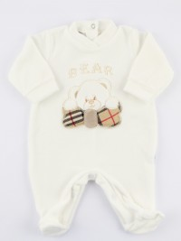 Image baby footie chenille Scottish bear. Colour creamy white, size 3-6 months